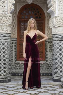 Sexy A-line Spaghettis Straps Burgundy Formal Dresses Velvet Side Slit Evening Dress_4