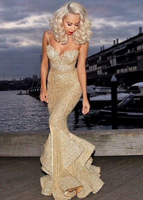 Gold Sequins Mermaid Evening Dress  Sexy Sweetheart Mermaid Prom Dress with Split_1