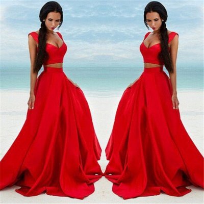 Sexy Two Piece Red Formal Dresses   Sleeveless Evening Gown BA7932_3