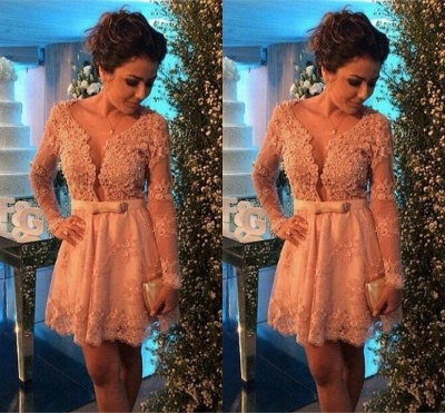 Cute Pink Bowknot Lace Short Cocktail Dress with Beadings Long Sleeve Homecoming Dresses for Women_2