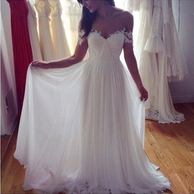 Off The Shoulder Lace Sweetheart Beach Wedding Dress   Chiffon Summer Outdoor Bridal Gowns BA3769_6