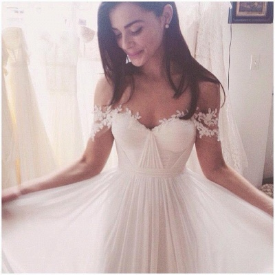 Off The Shoulder Lace Sweetheart Beach Wedding Dress   Chiffon Summer Outdoor Bridal Gowns BA3769_3