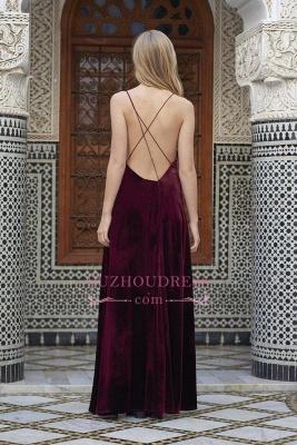 Sexy A-line Spaghettis Straps Burgundy Formal Dresses Velvet Side Slit Evening Dress_1