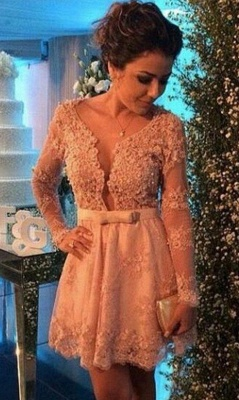 Cute Pink Bowknot Lace Short Cocktail Dress with Beadings Long Sleeve Homecoming Dresses for Women_1
