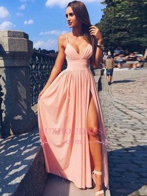 Sexy Side-Slit A-line Deep-V-Neck Spaghetti-Straps Prom Dresses  CD0092_3