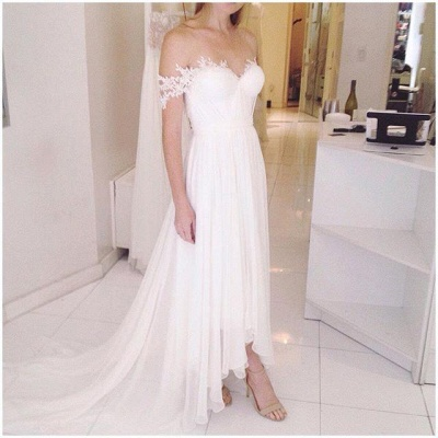 Off The Shoulder Lace Sweetheart Beach Wedding Dress   Chiffon Summer Outdoor Bridal Gowns BA3769_4