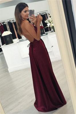 Side Slit Sleeveless V-neck Burgundy Evening Gowns Sexy Halter Long Evening Dresses  BA3834_3