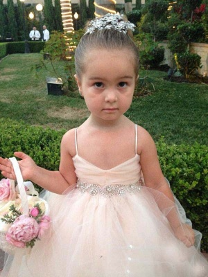 Cute Spaghetti Strap Flower Girl Dress Cute Empire Tulle  Wedding Dress BO8553_2