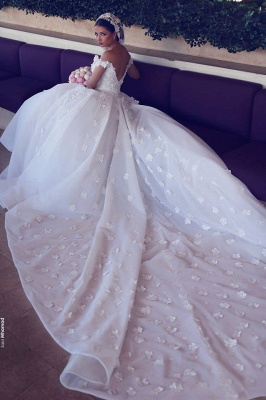 Alluring Open Back Appliques Wedding Dresses Off-the-Shoulder Lace Bridal Gowns Online_4