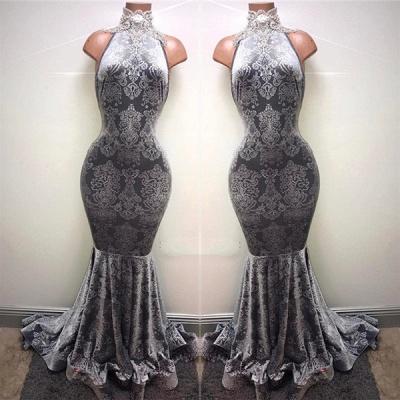 Lace High Neck Mermaid Prom Dresses   Sleeveless Floor Length Evening Dresses BA8233_3