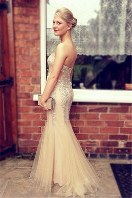 Popular Mermaid Champagne Prom Dresses Beading Sequins Corset Evening Dress_3
