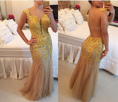 Sparkly Tulle Mermaid Evening Gowns New Arrival Lace Applique Sleeveless Prom Dresses_3