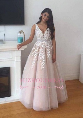 Lace V-Neck Tulle Appliques Evening Gowns  Gorgeous Prom Dress  BA4883_2
