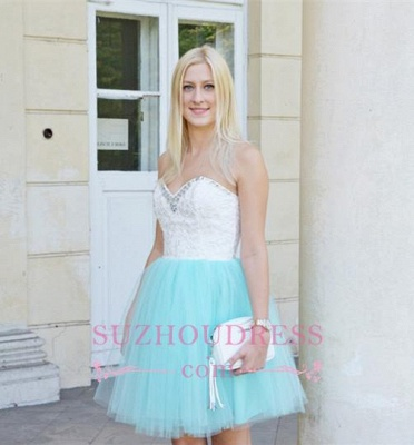 Sleeveless Lace Mini Newest Crystal Sweetheart Homecoming Dress_1
