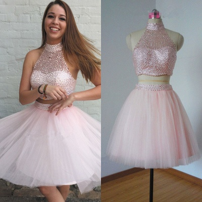 High Collar Pink Two Piece Cocktail Dress Sleeveless Beading Short  Homecoming Dresses_3