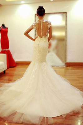 New Arrival Lace  Wedding Dress Sheer Back Sexy Mermaid Bridal Dresses_3