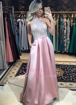 Pink Halter Beadings Evening Dresses | Sexy A-line Backless Prom Dress_4