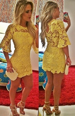 Sexy Half Sleeve Yellow Lace Homecoming Dress Latest Custom Made Short Cocktail Dress_1