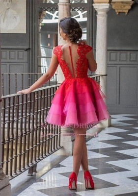 Colorful Tulle Red Lace Homecoming Dresses  A-line Mini Cap-Sleeve Newest Homecoming Dress_3