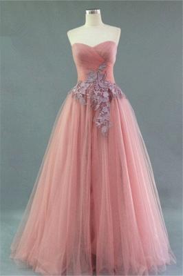 Sweetheart Ruffles Appliques Cute Evening Dresses Elegant Floor Length Prom Dresses_2
