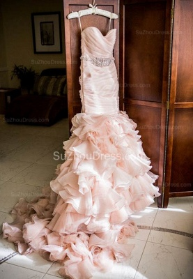 Sexy Mermaid Sweetheart Wedding Dresses  Pink Crystal Lace-Up Lovely Ruffles Bridal Gowns_2