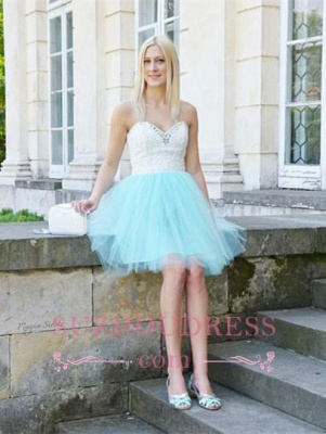 Sleeveless Lace Mini Newest Crystal Sweetheart Homecoming Dress_2