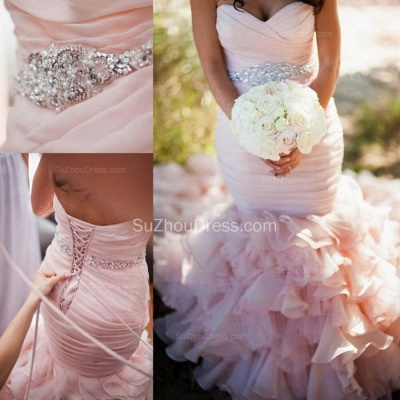 Sexy Mermaid Sweetheart Wedding Dresses  Pink Crystal Lace-Up Lovely Ruffles Bridal Gowns_4