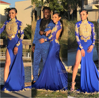Sexy Split Open Back Gold Lace Prom Dress Online | High Neck Long Sleeve Royal Blue Evening Dress  FB0372_3
