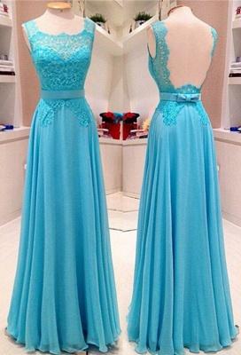 Elegant Light Blue Floor Length Prom Dress A-Line Bowknot Lace Open Back Party Dresses_3