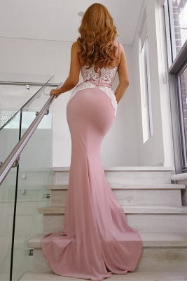Glamorous Spaghetti Straps Sweetheart Pink Prom Dress Open Back Mermaid White Lace Party Dresses On Sale_3