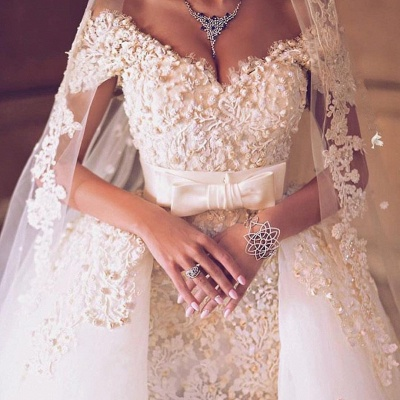 Off The Shoulder Beaded Lace Appliques Wedding Dresses  Tulle Bride Dress with Bowknot Sash BA7646_3