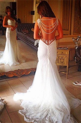 Backless Lace Bridal Gowns Sheath Mermaid Wedding Dress with Pearls Chains_1