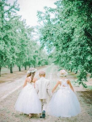 White Tulle Long Flower Girl Dress White Lace Dress with Crossed Back BO8530_4