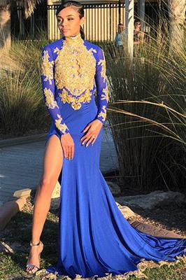 Sexy Split Open Back Gold Lace Prom Dress Online | High Neck Long Sleeve Royal Blue Evening Dress  FB0372_1