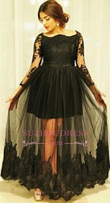 Gorgeous Black Floor-Length Lace Long-Sleeve Tulle Maternity Dresses_3