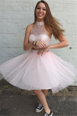 High Collar Pink Two Piece Cocktail Dress Sleeveless Beading Short  Homecoming Dresses_1