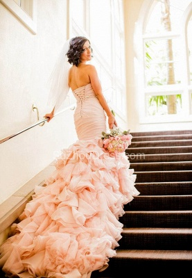 Sexy Mermaid Sweetheart Wedding Dresses  Pink Crystal Lace-Up Lovely Ruffles Bridal Gowns_3