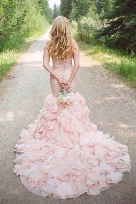 Sexy Mermaid Sweetheart Wedding Dresses  Pink Crystal Lace-Up Lovely Ruffles Bridal Gowns_5