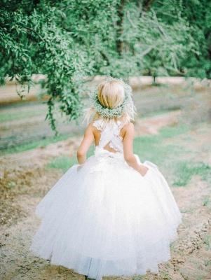 White Tulle Long Flower Girl Dress White Lace Dress with Crossed Back BO8530_5
