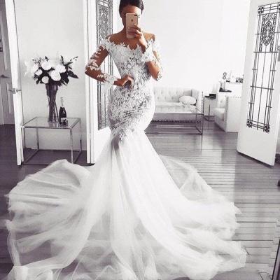 Elegant Off Shoulder Wedding Dresses | Long Sleeves Mermaid Lace Bridal Gowns_2