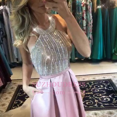 Pink Halter Beadings Evening Dresses | Sexy A-line Backless Prom Dress_3