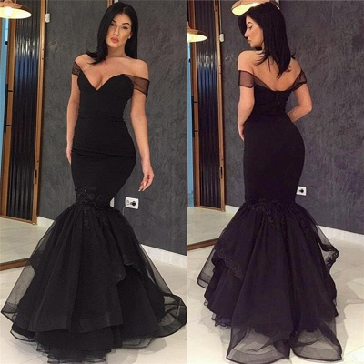 Off The Shoulder Mermaid Sexy Evening Gowns  Black Open Back  Prom Dress_4