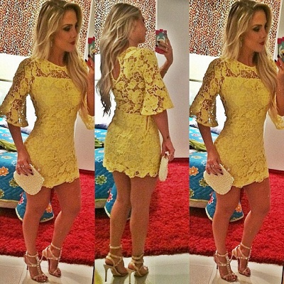 Sexy Half Sleeve Yellow Lace Homecoming Dress Latest Custom Made Short Cocktail Dress_2