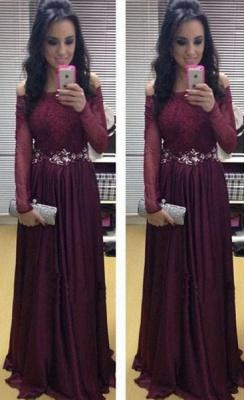 A-Line Burgundy Crystal Long Sleeve Prom Dress Off Shoulder Chiffon Lace Evening Dress_1