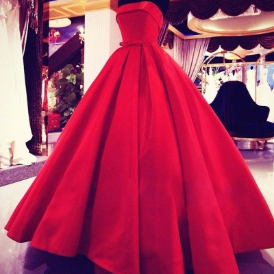 Elegant Red Strapless Ball Gown Prom Dress Simple Bowknot Floor Length Evening Dresses_3