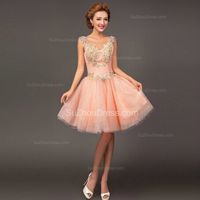 Pink Homecoming Dresses  Straps Sleeveless Short Ball Gown Sequins Beading Crystal  Cocktail Gowns_2