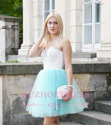 Sleeveless Lace Mini Newest Crystal Sweetheart Homecoming Dress_4