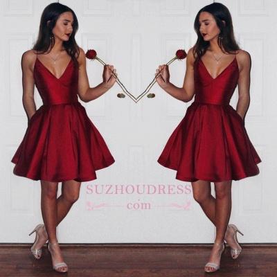 Newest Short Sleeveless Spaghetti-strap Ruby Homecoming Dress BA6907_1