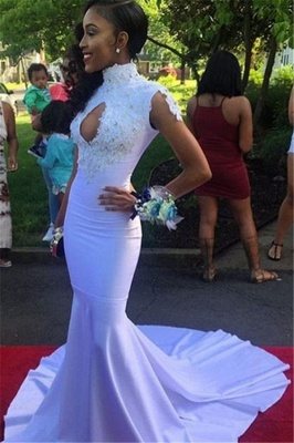 Sexy Mermaid High-Neck Prom Dresses  Appliques Keyhole Evening Dresses with Beadings SK0102_1