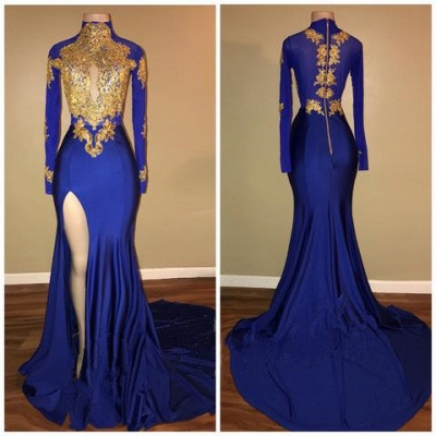 Royal Blue High Neck Mermaid Prom Dresses  Long Sleeves Side Slit Appliques Evening Dresses BA7711_3